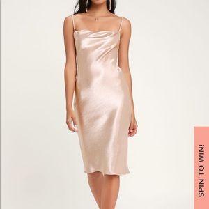 Lulus Blush Satin Cowl Neck Midi Slip Dress